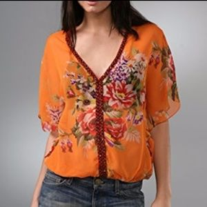 Free People Genius Orange Floral Boho Beaded Top